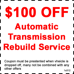 Save $100 on an Automatic Transmission Rebuilding Service