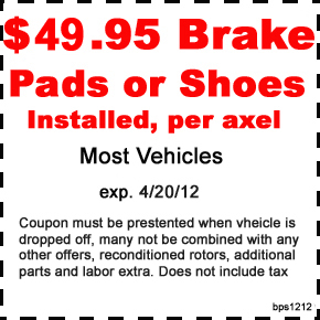 49.95 Brake pad or shoe install